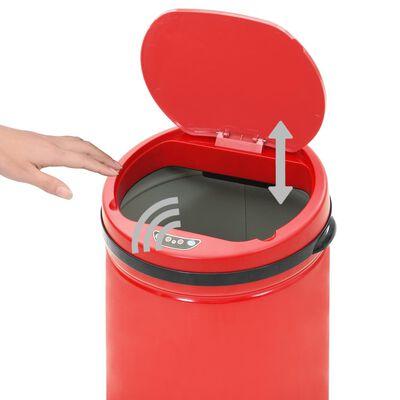 vidaXL Coș de gunoi automat cu senzor, 50 L, roșu, oțel carbon