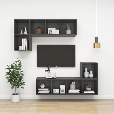 vidaXL Dulap TV montat pe perete, gri, 37x37x107 cm, PAL