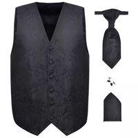 Set vestă nuntă pentru bărbați cu imprimeu Paisley, mărime 48, negru