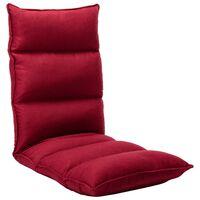 vidaXL Scaun de podea pliabil, roșu vin, material textil
