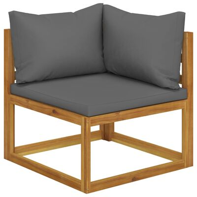vidaXL Canapea de grădină 3 locuri cu perne, lemn masiv acacia