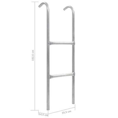 vidaXL Scară de trambulină cu 2 trepte, argintiu, 102,6 cm, oțel,