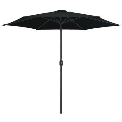 vidaXL Umbrelă de soare cu stâlp aluminiu, negru, 270 x 246 cm