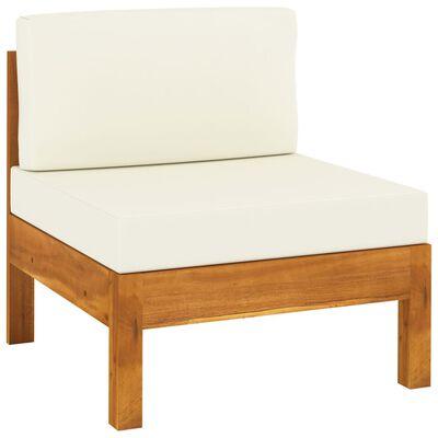 vidaXL Set mobilier grădină perne alb/crem, 7 piese, lemn masiv acacia