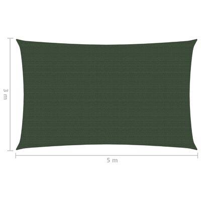vidaXL Pânză parasolar, verde închis, 3x5 m, HDPE, 160 g / m²