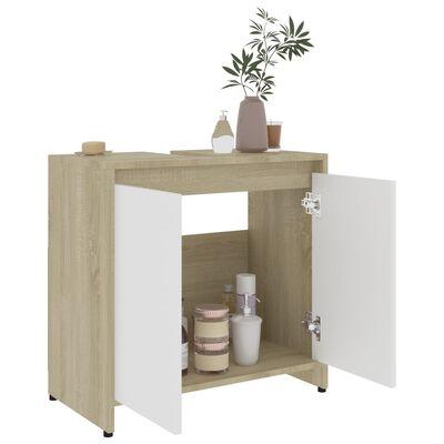 vidaXL Dulap de baie, alb și stejar Sonoma, 60x33x58 cm, PAL