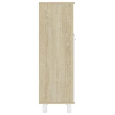 vidaXL Dulap de baie, alb și stejar Sonoma, 30 x 30 x 95 cm, PAL
