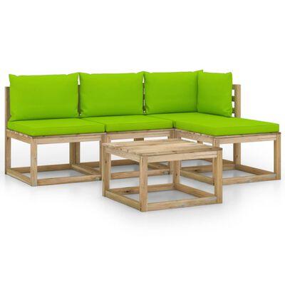 vidaXL Set mobilier de grădină, 5 piese, cu perne verde aprins