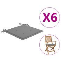 vidaXL Perne scaun de grădină, 6 buc., gri, 40x40x4 cm, textil
