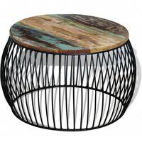 vidaXL Măsuță de cafea, 68 x 43 cm, lemn masiv reciclat, rotund