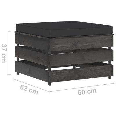 vidaXL Set mobilier de grădină cu perne, 2 piese, gri, lemn tratat