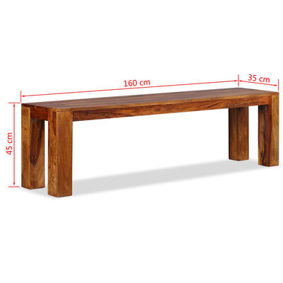 vidaXL Bancă din lemn masiv de sheesham 160 x 35 x 45 cm