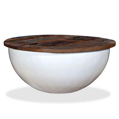 vidaXL Măsuță de cafea, alb, lemn masiv reciclat, formă bol