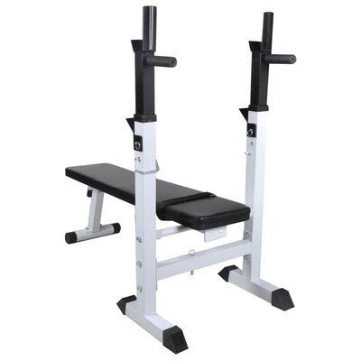 vidaXL Bancă de greutăți cu raft și set de haltere și gantere, 60,5kg