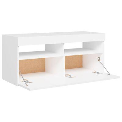 vidaXL Comodă TV cu lumini LED, alb, 90x35x40 cm