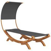 vidaXL Hamac cu baldachin, antracit, 100x216x162 cm, lemn masiv molid