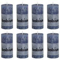 Bolsius Lumânări bloc rustice, 8 buc., albastru închis, 100 x 50 mm