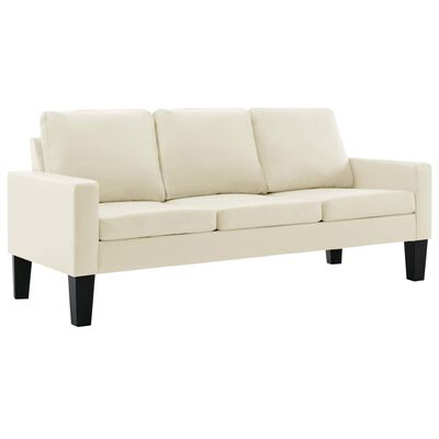 vidaXL Set de canapele, 2 piese, crem, piele ecologică