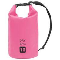 vidaXL Rucsac impermeabil, roz, 10 L, PVC