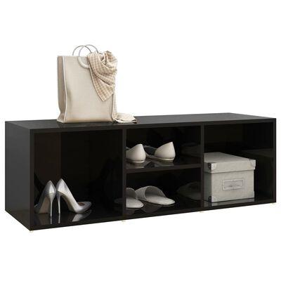 vidaXL Bancă depozitare pantofi, negru extralucios, 105x35x35 cm, PAL