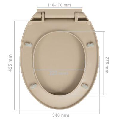 vidaXL Capac WC cu închidere silențioasă, bej, oval