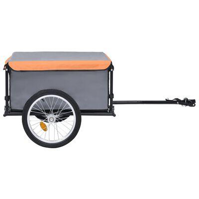 vidaXL Remorcă pentru bicicletă, gri și portocaliu, 65 kg