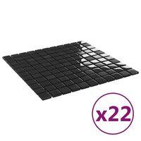 vidaXL Plăci mozaic autoadezive 22 buc. negru lucios, 30x30 cm, sticlă