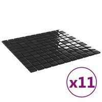 vidaXL Self-adhesive Mosaic Tiles 11 pcs Shiny Black 30x30 cm Glass