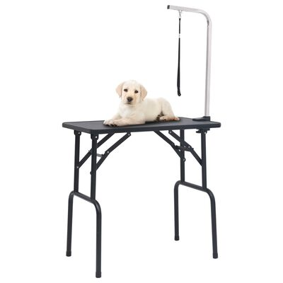 vidaXL Masă pentru îngrijirea câinilor, reglabilă, cu 1 lesă