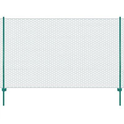 vidaXL Gard din plasă de sârmă cu stâlpi, verde, 25 x 2 m, oțel