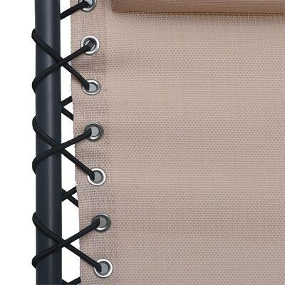 vidaXL Scaune șezlong pliabile, 2 buc., gri taupe, textilenă