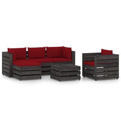 vidaXL Set mobilier de grădină cu perne, 6 piese, gri, lemn tratat