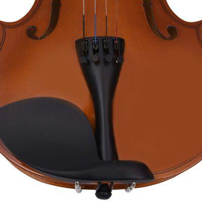 vidaXL Set complet vioară cu arcuș și suport bărbie, lemn închis 4/4