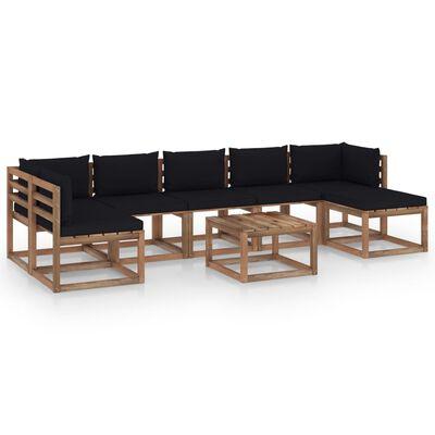 vidaXL Set mobilier de grădină, cu perne negre, 8 piese