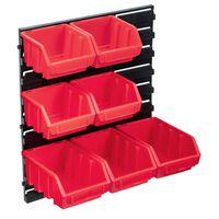 vidaXL Set cutii de depozitare 8 piese cu panou de perete, roșu&negru