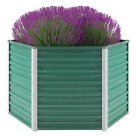 vidaXL Strat înălțat de grădină, verde, 129x129x77 cm, oțel galvanizat