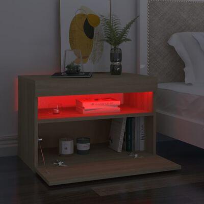 vidaXL Comode TV cu lumini LED, 2 buc., stejar Sonoma, 60x35x40 cm