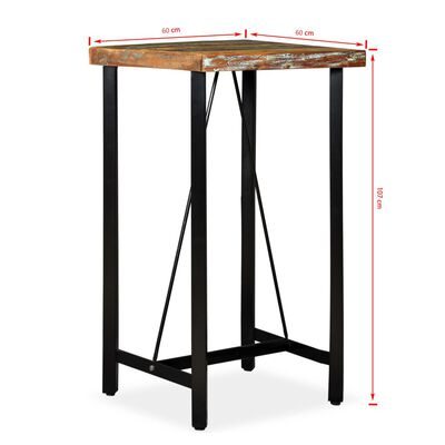 vidaXL Masă de bar, 60 x 60 x 107 cm, lemn masiv reciclat
