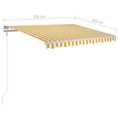 vidaXL Copertină retractabilă manual cu LED, galben/alb, 3,5x2,5 m
