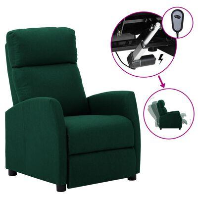 vidaXL Fotoliu rabatabil electric, verde, material textil
