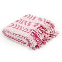 vidaXL Pătură decorativă cu dungi, bumbac, 125 x 150 cm, roz și alb