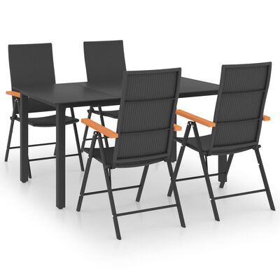 vidaXL Set mobilier de grădină, 5 piese, negru și maro