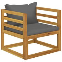 vidaXL Scaun de grădină, perne gri închis, lemn masiv de acacia