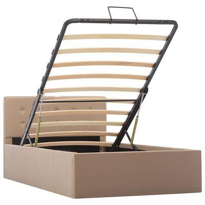 vidaXL Cadru pat hidraulic ladă cappuccino 100x200cm piele ecologică