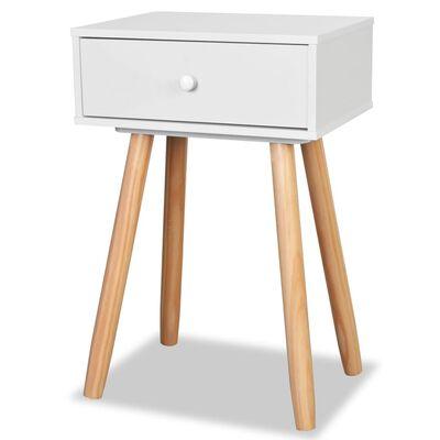 vidaXL Noptiere din lemn masiv de pin 2 buc, 40 x 30 x 61 cm, alb