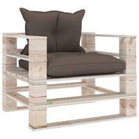 vidaXL Canapea de grădină din paleți, perne gri taupe, lemn de pin