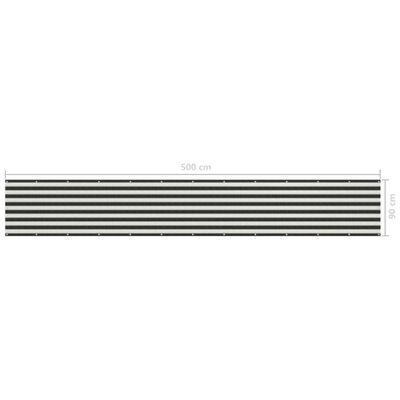 vidaXL Paravan de balcon, antracit și alb, 90 x 500 cm, HDPE