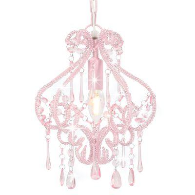 vidaXL Lustră cu mărgele, roz, rotund, E14