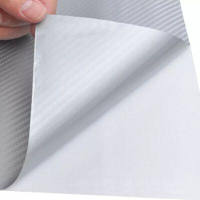 Folie mașină, model fibră carbon 3D, vinilin, 152x200 cm, argintiu