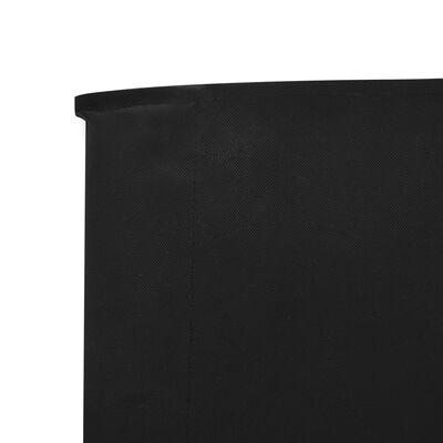 vidaXL Paravan anti-vânt cu 5 panouri, negru, 600 x 120 cm, textil